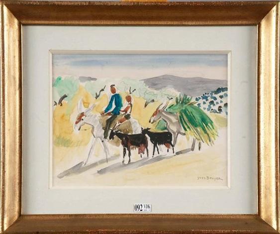 muletiers et chèvres en espagne by yves brayer
