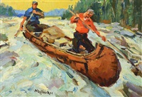 shooting the rapids; the portage (2 works) by frank b. hoffman
