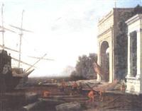 vue d'un port méditerranéen animé de villageois et marins by alessandro salucci