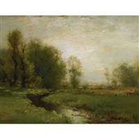 a stream through the meadow by arthur parton