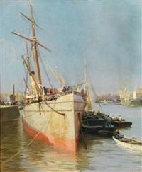 bateau au port by jacques-marie omer camoreyt