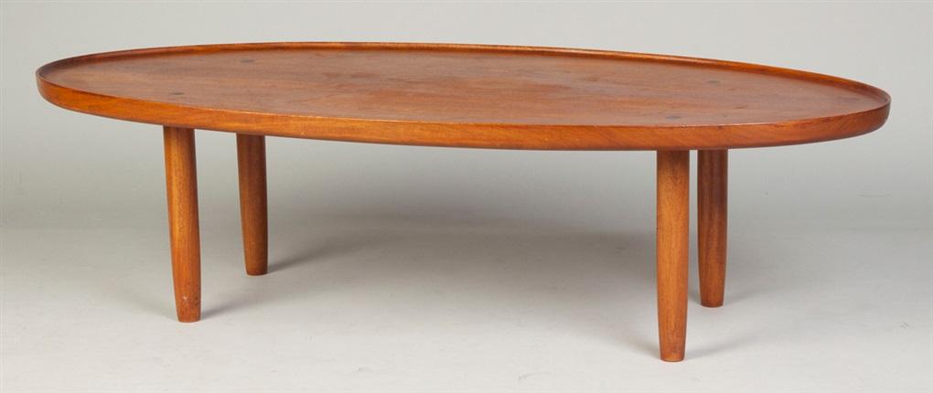 Oval Walnut Coffee Table By Tage Frid