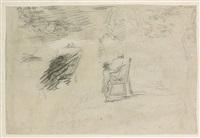 recto : rameurs sur une pièce d'eau ; verso : autoportrait présumé au chevalet by hubert robert
