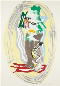green face, from brushstroke figure series by roy lichtenstein