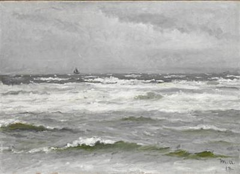 sailing ship at sea in cloudy weather by michael peter ancher