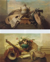 a lute, a tambourine, a panpipe and other instruments on a draped ledge, with a score of music and an urn on a plinth by godefroy