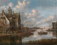 eine flusslandschaft mit fährbooten by thomas heeremans