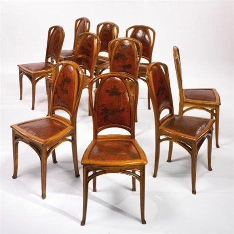 set of ten side chairs by louis majorelle