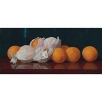 wrapped oranges on a tabletop by william j. mccloskey