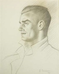 self portrait (sketch) by leo bensemann