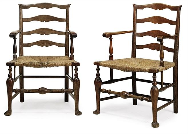 ladderback armchairs pair by edwin henry lutyens