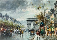 champs elysees, arc de triomphe by antoine blanchard