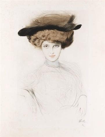 jeune femme aux cheveux bruns dans un chapeau noir by paul césar helleu