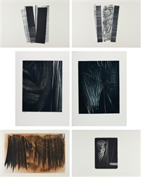 farandole: five plates; l 1977-3; and l 1977-5 by hans hartung