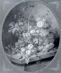 basket of roses, grapes and peaches by jean laurent