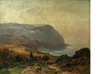 lynmouth coastal scene, with farmer and sheep on a track by alexander carruthers gould