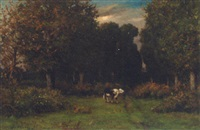 a cow on a path in a wooded landscape by léonce chabry