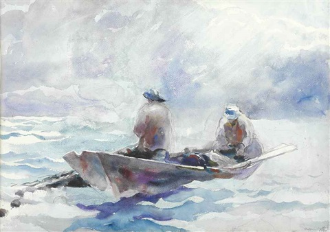 fishermen in dory by andrew wyeth