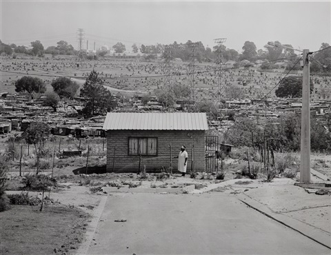 mrs miriam mazibuko watering her garden extension 8 far east alexandra township johannesburg 12 september by david goldblatt