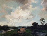 a figure walking beside a canal by jan van der linde
