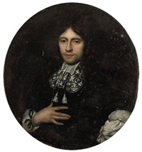 portrait of a gentleman in a black doublet and lace collar by carel de moor