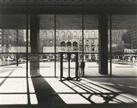 looking from seagram building lobby across park avenue to the racquet and tennis club by ezra stoller