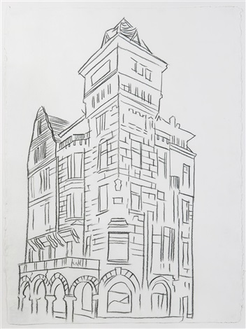 architectural drawing (bulding with arcade) by andy warhol