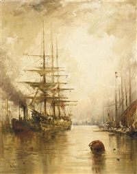 a crowded harbour at dusk; bustling activity in the harbour (2 works) by william edward webb