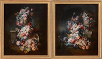 floral still lifes (pair) by continental school