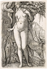 eve with a stag by heinrich aldegrever