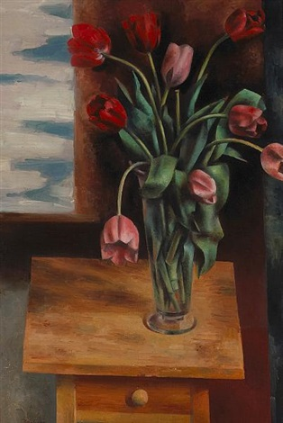 tulips on a table by andrew michael dasburg