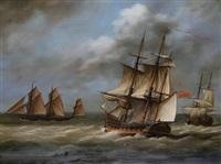 shipping scene with man o'war by louis dodd
