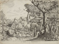pagus nemorosus (paysage boisé)(from grands paysages) by pieter brueghel the elder