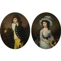 three-quarter length portraits of master harry croft and his sister miss sarah croft (pair) by francis alleyne