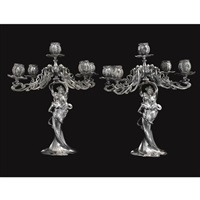 a pair of american five light candelabra by e.g.webster & son