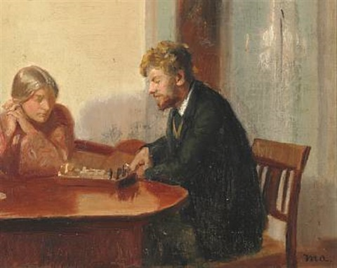 engel saxild and henry madsen playing chess in anchers house by michael peter ancher
