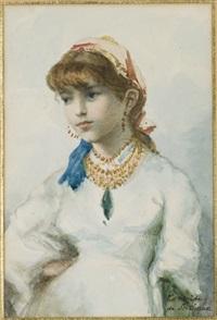 jeune fille en costume oriental by tancrède de scitivaux