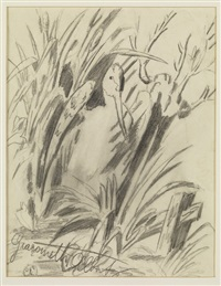vogel im gebüsch (+ militärische übung, pencil and color pendil, verso) by alberto giacometti
