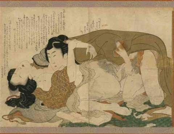 oban yoko e tsui no hinagata modèles de couples amants sétreignant la femme se pâmant by katsushika hokusai