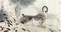 幽禽翠翎满晴溪之四 (duck in lotus pond) by xu xiaobin