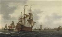 shipping in choppy waters near a walled town by jacob gerritz loef