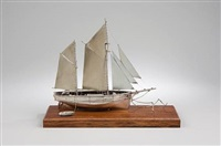 moored sailing boat model by ammonite ltd