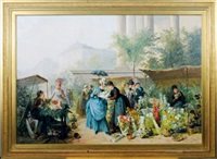 flower market by the madeleine, paris by jules henri veron-fare
