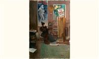 jeune femme dans l'atelier de jules chéret by etienne-albert-eugène joannon