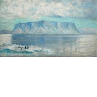 penguins on an ice float, antarctica by frank wilbert stokes