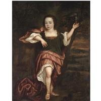 portrait of a boy, full length, dressed in classical robes, feeding a parrot by abraham lambertsz jacobsz van den tempel