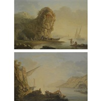 a mediterranean coastal scene with fishermen pushing their boat out to sea (+ a mediterranean coastal scene with figures unloading cargo from a ship; pair) by carlo bonavia