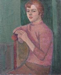 sitzendes mädchen im rosafarbenen pullover by max möbius