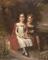 a double portrait of brother and sister reading a book seated beneath a tree by james archer