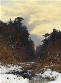 bachlauf im winterwald by heinrich gogarten